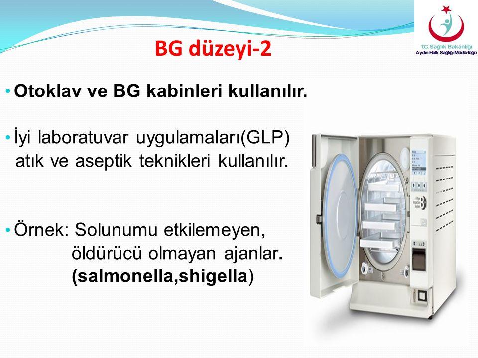 BG düzeyi-2 Otoklav ve BG kabinleri kullanılır. İyi laboratuvar uygulamaları(GLP) atık ve aseptik teknikleri kullanılır. Örnek: Solunumu etkilemeyen,
