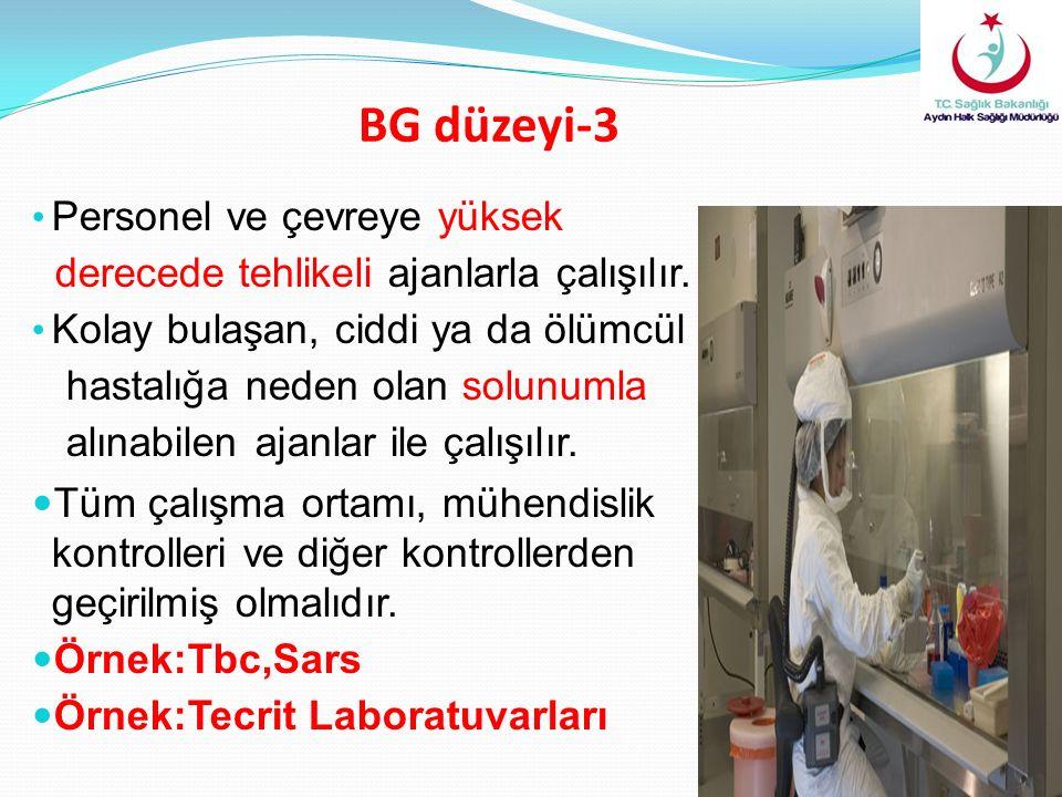 BG düzeyi-3 Personel ve çevreye yüksek derecede tehlikeli ajanlarla çalışılır. Kolay bulaşan, ciddi ya da ölümcül hastalığa neden olan solunumla alına