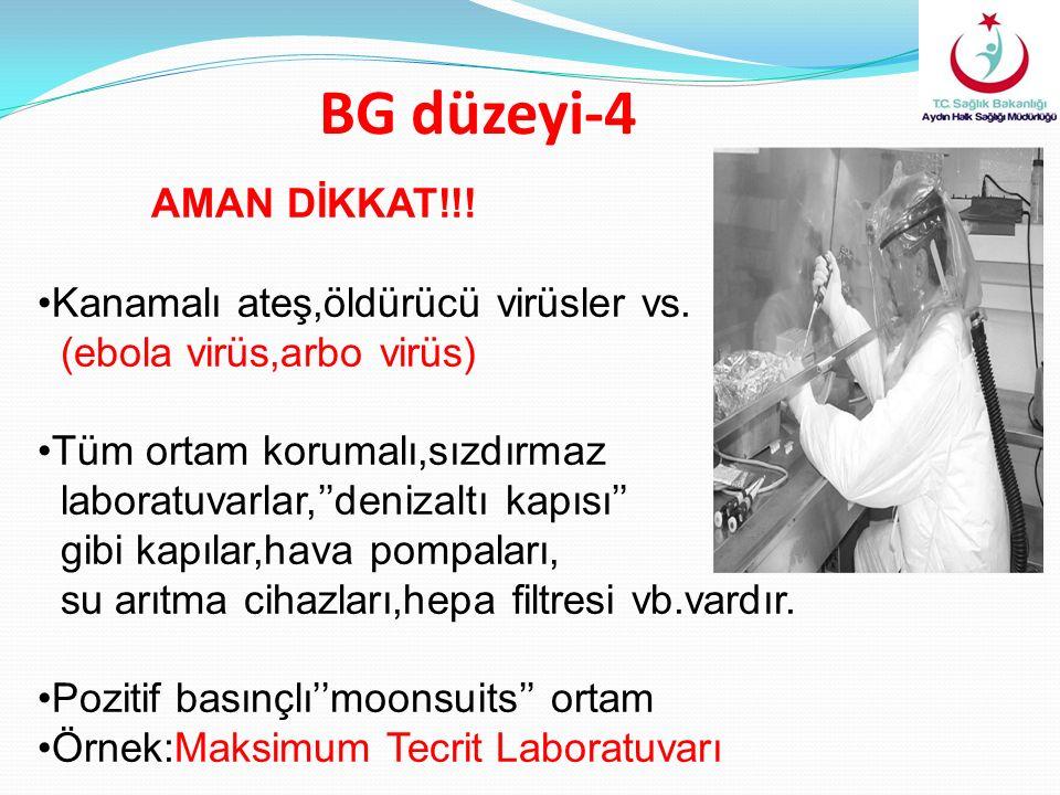 BG düzeyi-4 AMAN DİKKAT!!. Kanamalı ateş,öldürücü virüsler vs.