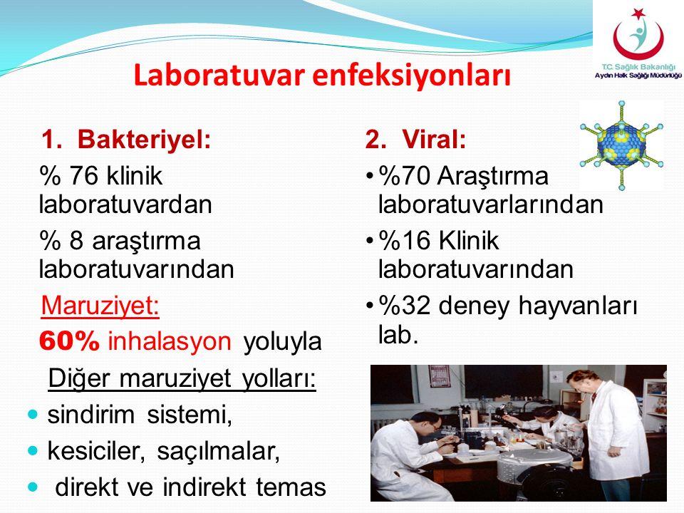 Laboratuvar enfeksiyonları 1. Bakteriyel: % 76 klinik laboratuvardan % 8 araştırma laboratuvarından Maruziyet: 60% inhalasyon yoluyla Diğer maruziyet