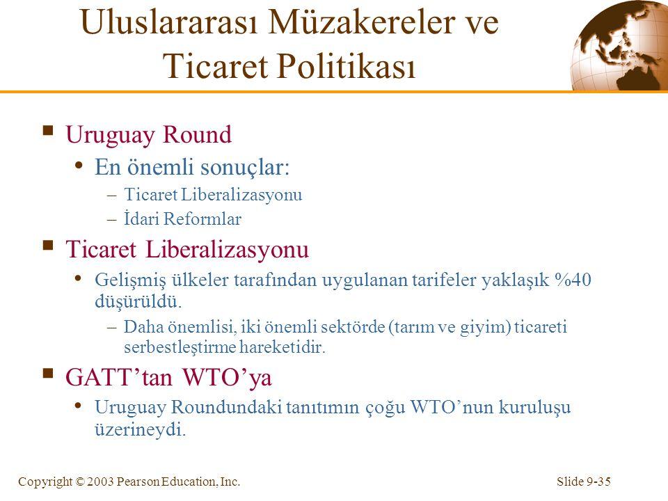 Slide 9-35Copyright © 2003 Pearson Education, Inc.  Uruguay Round En önemli sonuçlar: –Ticaret Liberalizasyonu –İdari Reformlar  Ticaret Liberalizas