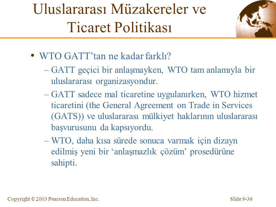 Slide 9-36Copyright © 2003 Pearson Education, Inc. WTO GATT'tan ne kadar farklı? –GATT geçici bir anlaşmayken, WTO tam anlamıyla bir uluslararası orga