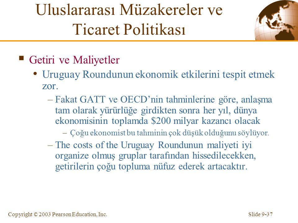 Slide 9-37Copyright © 2003 Pearson Education, Inc.  Getiri ve Maliyetler Uruguay Roundunun ekonomik etkilerini tespit etmek zor. –Fakat GATT ve OECD'