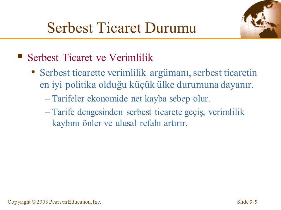 Slide 9-5Copyright © 2003 Pearson Education, Inc.  Serbest Ticaret ve Verimlilik Serbest ticarette verimlilik argümanı, serbest ticaretin en iyi poli