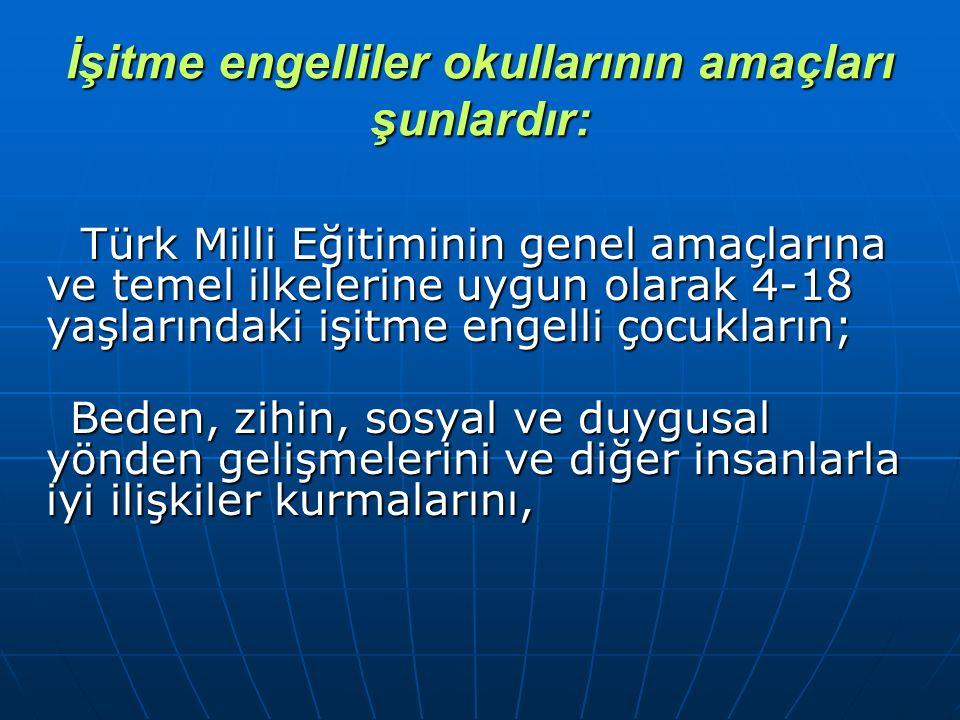 İşitme engelliler okullarının amaçları şunlardır: Türk Milli Eğitiminin genel amaçlarına ve temel ilkelerine uygun olarak 4-18 yaşlarındaki işitme eng