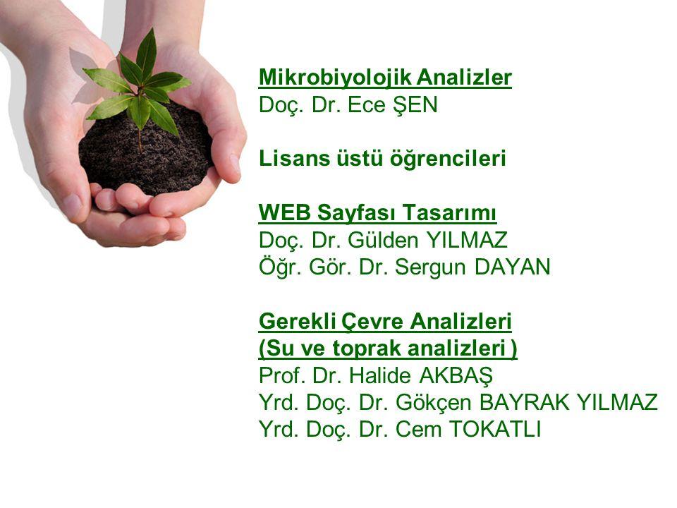 Mikrobiyolojik Analizler Doç. Dr. Ece ŞEN Lisans üstü öğrencileri WEB Sayfası Tasarımı Doç.