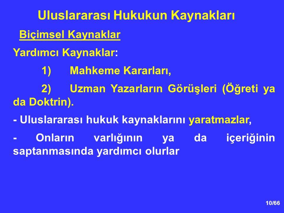 10/66 Biçimsel Kaynaklar Yardımcı Kaynaklar: 1)Mahkeme Kararları, 2)Uzman Yazarların Görüşleri (Öğreti ya da Doktrin).
