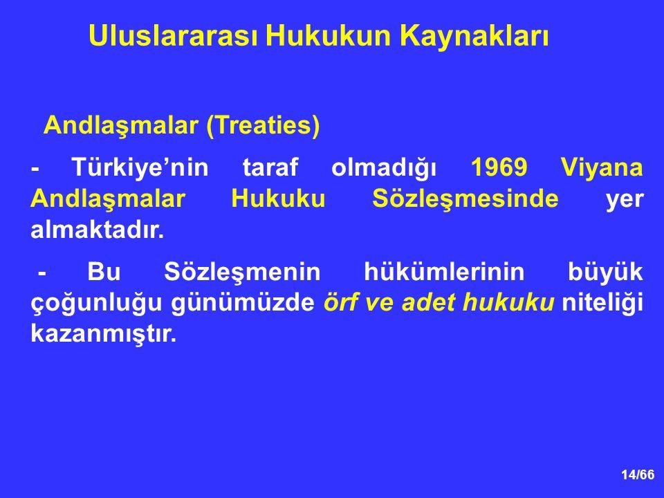 14/66 Andlaşmalar (Treaties) - Türkiye'nin taraf olmadığı 1969 Viyana Andlaşmalar Hukuku Sözleşmesinde yer almaktadır.