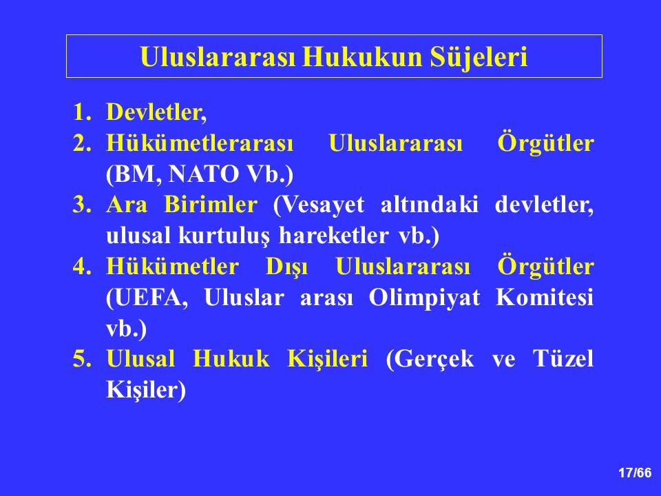 17/66 Uluslararası Hukukun Süjeleri 1.Devletler, 2.Hükümetlerarası Uluslararası Örgütler (BM, NATO Vb.) 3.Ara Birimler (Vesayet altındaki devletler, ulusal kurtuluş hareketler vb.) 4.Hükümetler Dışı Uluslararası Örgütler (UEFA, Uluslar arası Olimpiyat Komitesi vb.) 5.Ulusal Hukuk Kişileri (Gerçek ve Tüzel Kişiler)
