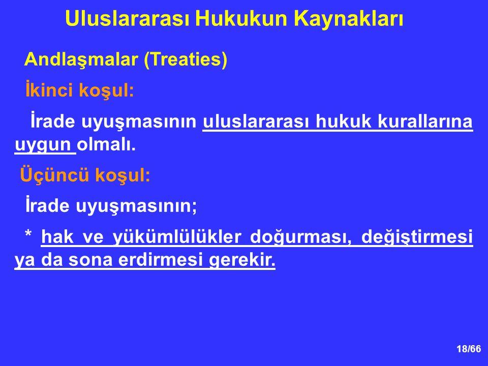 18/66 Andlaşmalar (Treaties) İkinci koşul: İrade uyuşmasının uluslararası hukuk kurallarına uygun olmalı.