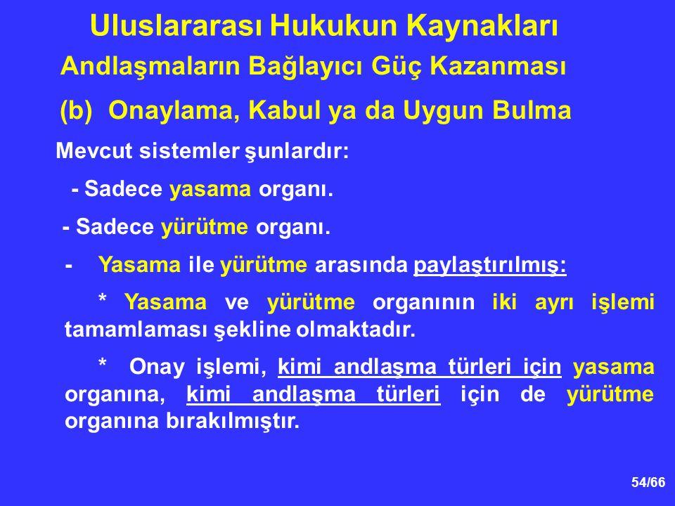 54/66 Andlaşmaların Bağlayıcı Güç Kazanması (b) Onaylama, Kabul ya da Uygun Bulma Mevcut sistemler şunlardır: - Sadece yasama organı.
