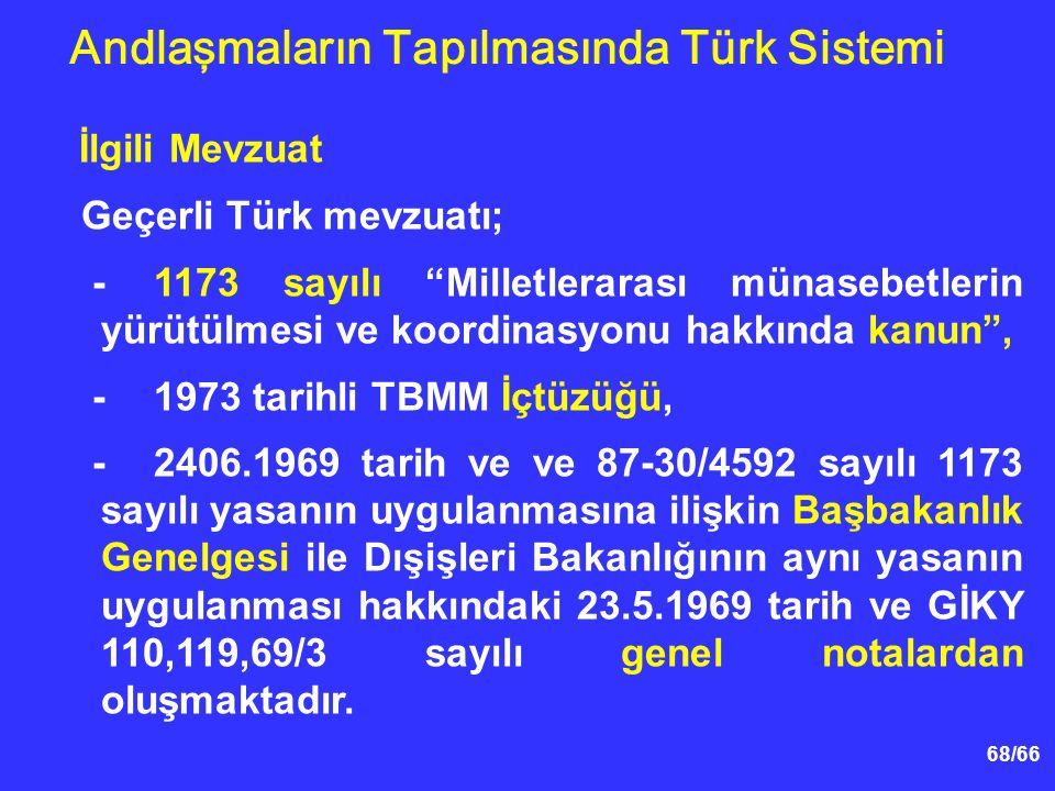 68/66 İlgili Mevzuat Geçerli Türk mevzuatı; -1173 sayılı Milletlerarası münasebetlerin yürütülmesi ve koordinasyonu hakkında kanun , -1973 tarihli TBMM İçtüzüğü, -2406.1969 tarih ve ve 87-30/4592 sayılı 1173 sayılı yasanın uygulanmasına ilişkin Başbakanlık Genelgesi ile Dışişleri Bakanlığının aynı yasanın uygulanması hakkındaki 23.5.1969 tarih ve GİKY 110,119,69/3 sayılı genel notalardan oluşmaktadır.