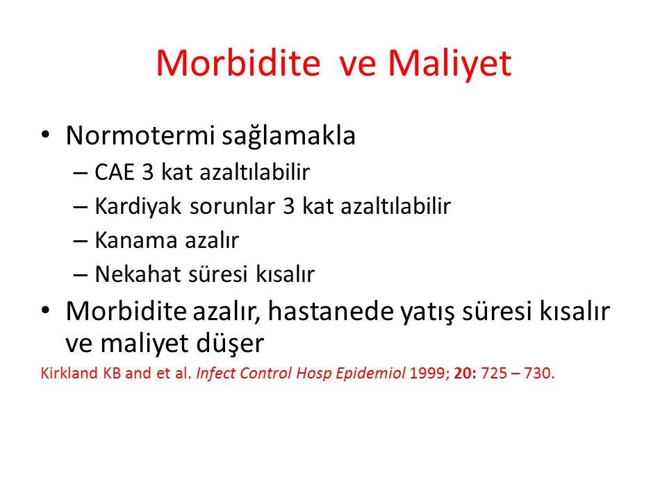 Morbidite ve Maliyet Normotermi sağlamakla – CAE 3 kat azaltılabilir – Kardiyak sorunlar 3 kat azaltılabilir – Kanama azalır – Nekahat süresi kısalır Morbidite azalır, hastanede yatış süresi kısalır ve maliyet düşer Kirkland KB and et al.