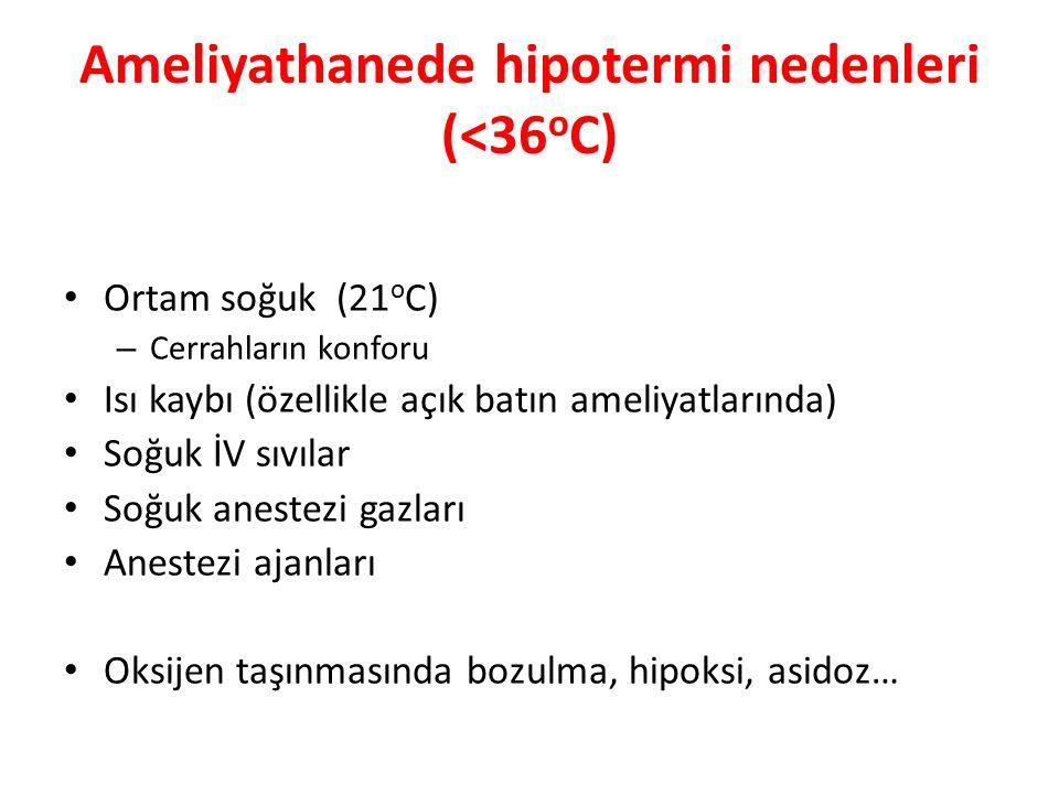 Ameliyathanede hipotermi nedenleri (<36 o C) Ortam soğuk (21 o C) – Cerrahların konforu Isı kaybı (özellikle açık batın ameliyatlarında) Soğuk İV sıvılar Soğuk anestezi gazları Anestezi ajanları Oksijen taşınmasında bozulma, hipoksi, asidoz…