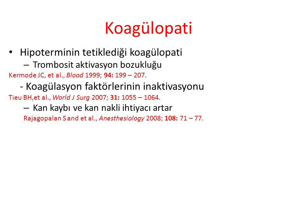 Koagülopati Hipoterminin tetiklediği koagülopati – Trombosit aktivasyon bozukluğu Kermode JC, et al., Blood 1999; 94: 199 – 207.