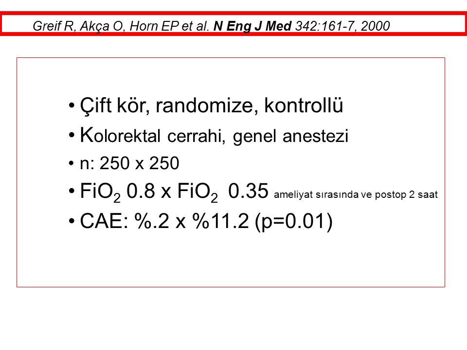 Çift kör, randomize, kontrollü K olorektal cerrahi, genel anestezi n: 250 x 250 FiO 2 0.8 x FiO 2 0.35 ameliyat sırasında ve postop 2 saat CAE: %.2 x %11.2 (p=0.01) Greif R, Akça O, Horn EP et al.