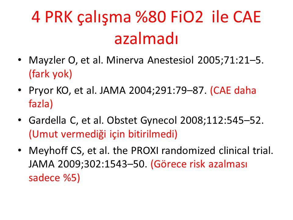 4 PRK çalışma %80 FiO2 ile CAE azalmadı Mayzler O, et al.