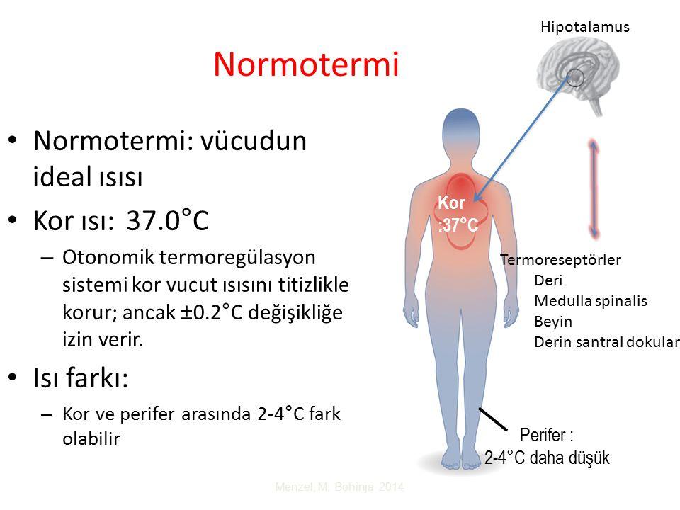 Normotermi Normotermi: vücudun ideal ısısı Kor ısı: 37.0°C – Otonomik termoregülasyon sistemi kor vucut ısısını titizlikle korur; ancak ±0.2°C değişikliğe izin verir.