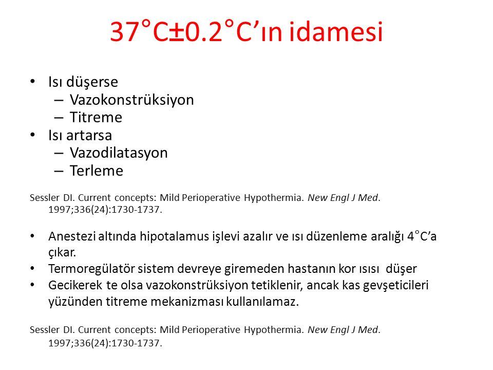 37°C±0.2°C'ın idamesi Isı düşerse – Vazokonstrüksiyon – Titreme Isı artarsa – Vazodilatasyon – Terleme Sessler DI.