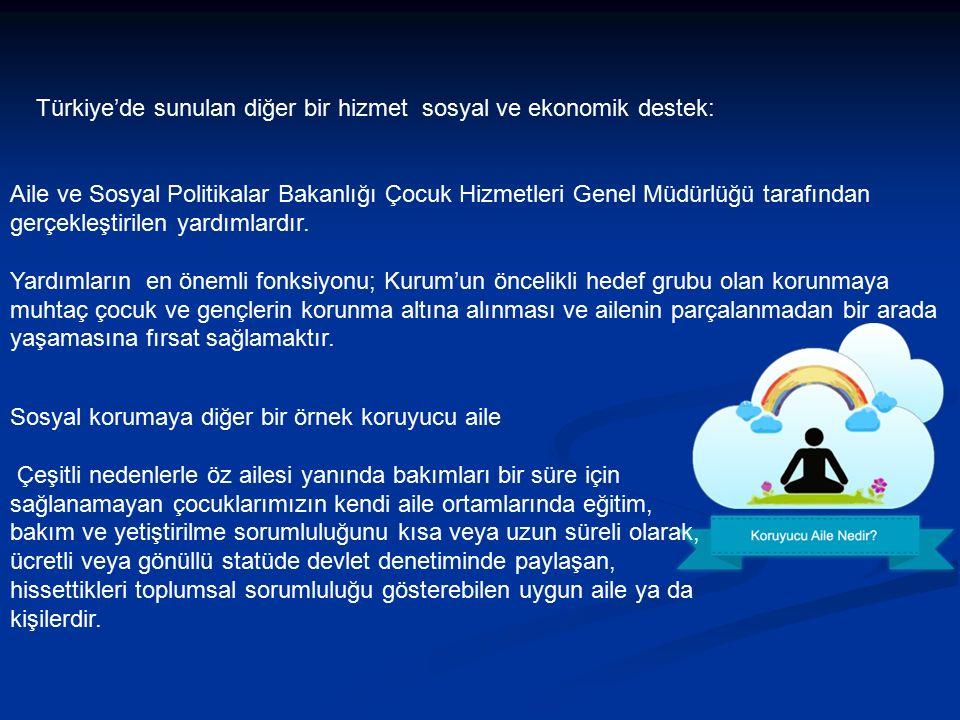 Türkiye'de sunulan diğer bir hizmet sosyal ve ekonomik destek: Aile ve Sosyal Politikalar Bakanlığı Çocuk Hizmetleri Genel Müdürlüğü tarafından gerçekleştirilen yardımlardır.