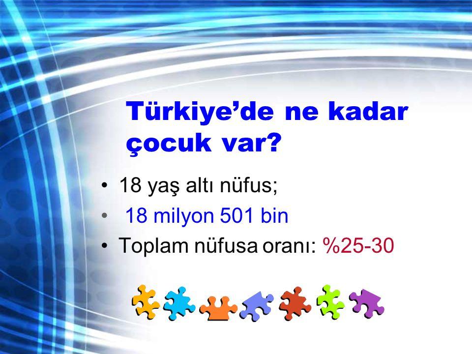Türkiye'de ne kadar çocuk var? 18 yaş altı nüfus; 18 milyon 501 bin Toplam nüfusa oranı: %25-30