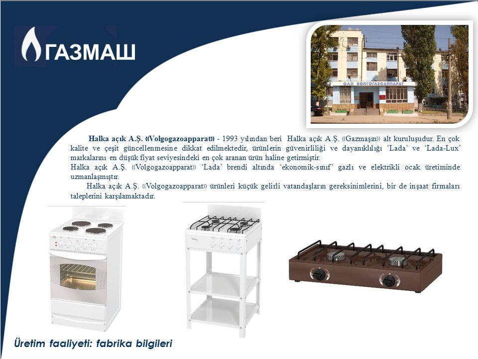 Üretim faaliyeti: fabrika bilgileri Halka açık A.Ş. « Volgogazoapparat » - 1993 yılından beri Halka açık A.Ş. « Gazmaşın » alt kuruluşudur. En çok kal