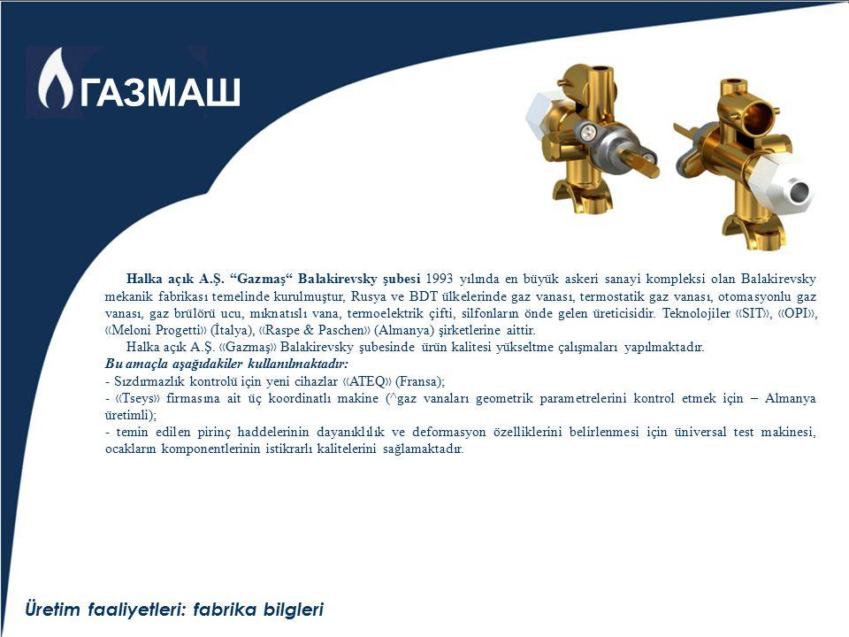 """Üretim faaliyetleri: fabrika bilgleri Halka açık A.Ş. """"Gazmaş"""" Balakirevsky şubesi 1993 yılında en büyük askeri sanayi kompleksi olan Balakirevsky mek"""