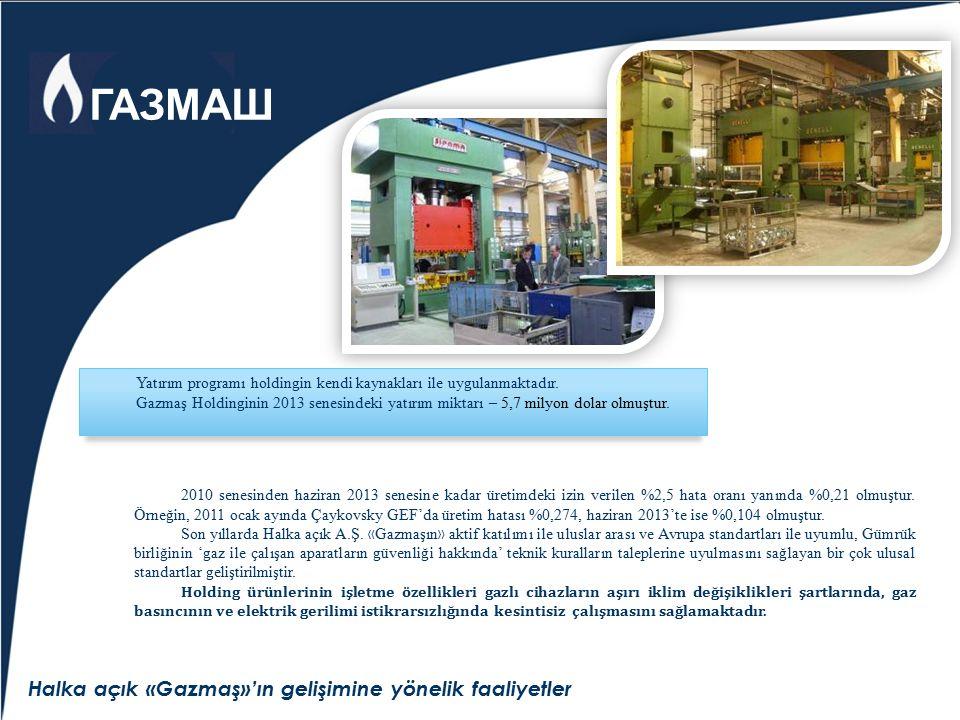 Halka açık «Gazmaş»'ın gelişimine yönelik faaliyetler Yatırım programı holdingin kendi kaynakları ile uygulanmaktadır. Gazmaş Holdinginin 2013 senesin