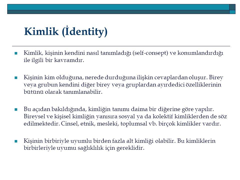 Kimlik (İdentity) Kimlik, kişinin kendini nasıl tanımladığı (self-consept) ve konumlandırdığı ile ilgili bir kavramdır.