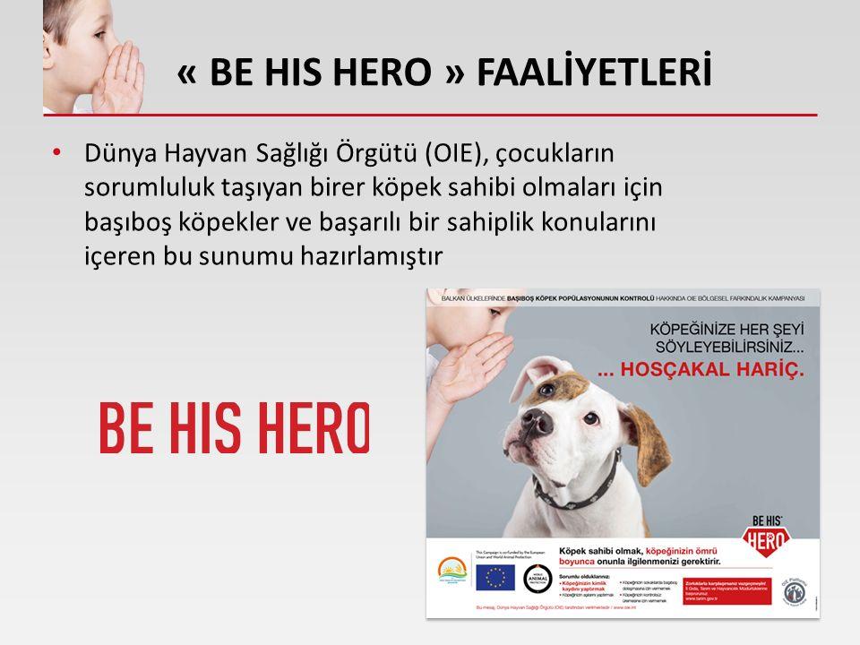 « BE HIS HERO » FAALİYETLERİ Dünya Hayvan Sağlığı Örgütü (OIE), çocukların sorumluluk taşıyan birer köpek sahibi olmaları için başıboş köpekler ve başarılı bir sahiplik konularını içeren bu sunumu hazırlamıştır