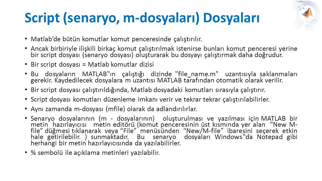 Script (senaryo, m-dosyaları) Dosyaları Matlab'de bütün komutlar komut penceresinde çalıştırılır. Ancak birbiriyle ilişkili birkaç komut çalıştırılmak