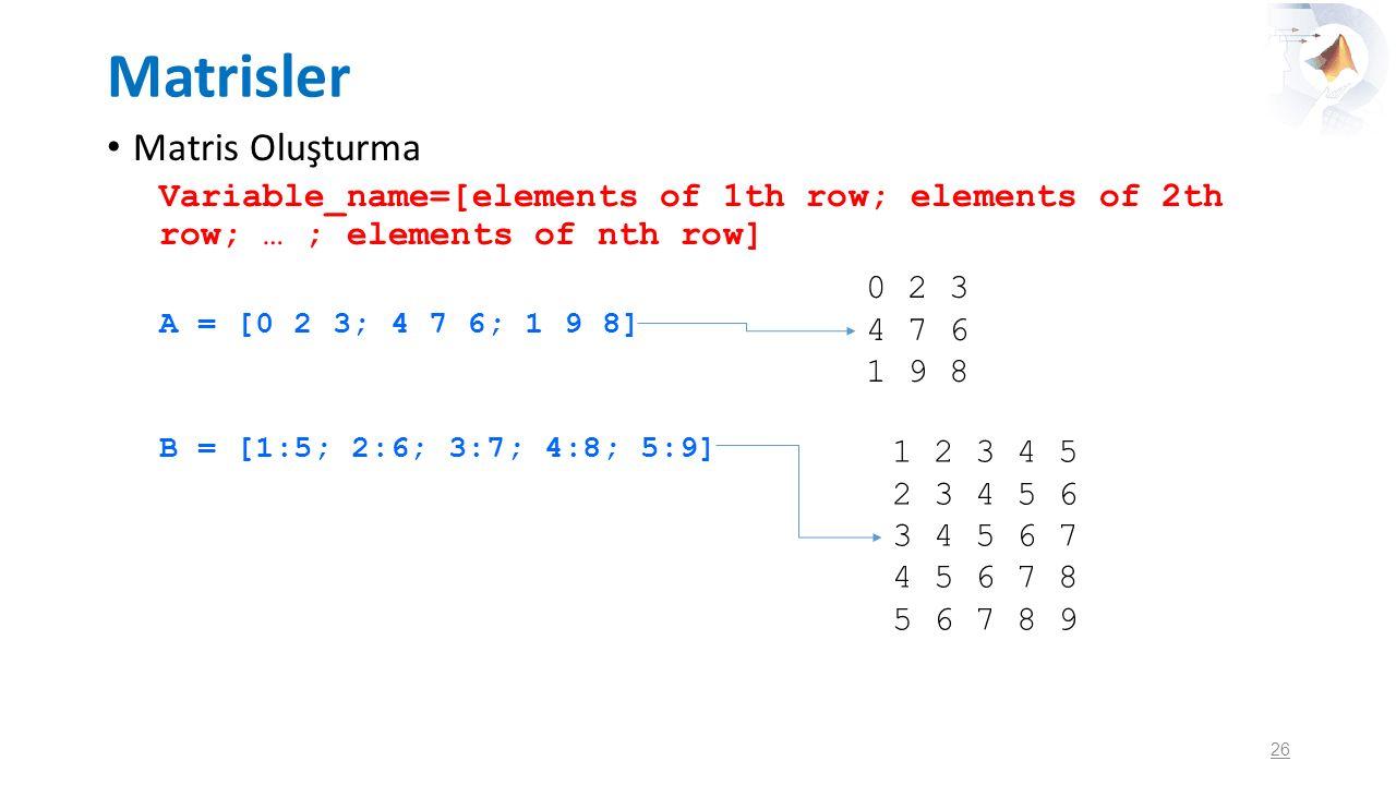 Matrisler Matris Oluşturma Variable_name=[elements of 1th row; elements of 2th row; … ; elements of nth row] A = [0 2 3; 4 7 6; 1 9 8] B = [1:5; 2:6;