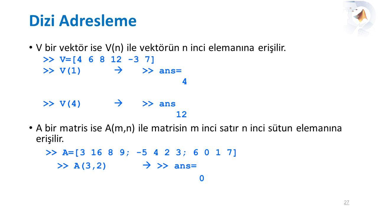 Dizi Adresleme V bir vektör ise V(n) ile vektörün n inci elemanına erişilir. >> V=[4 6 8 12 -3 7] >> V(1)  >> ans= 4 >> V(4)  >> ans 12 A bir matris