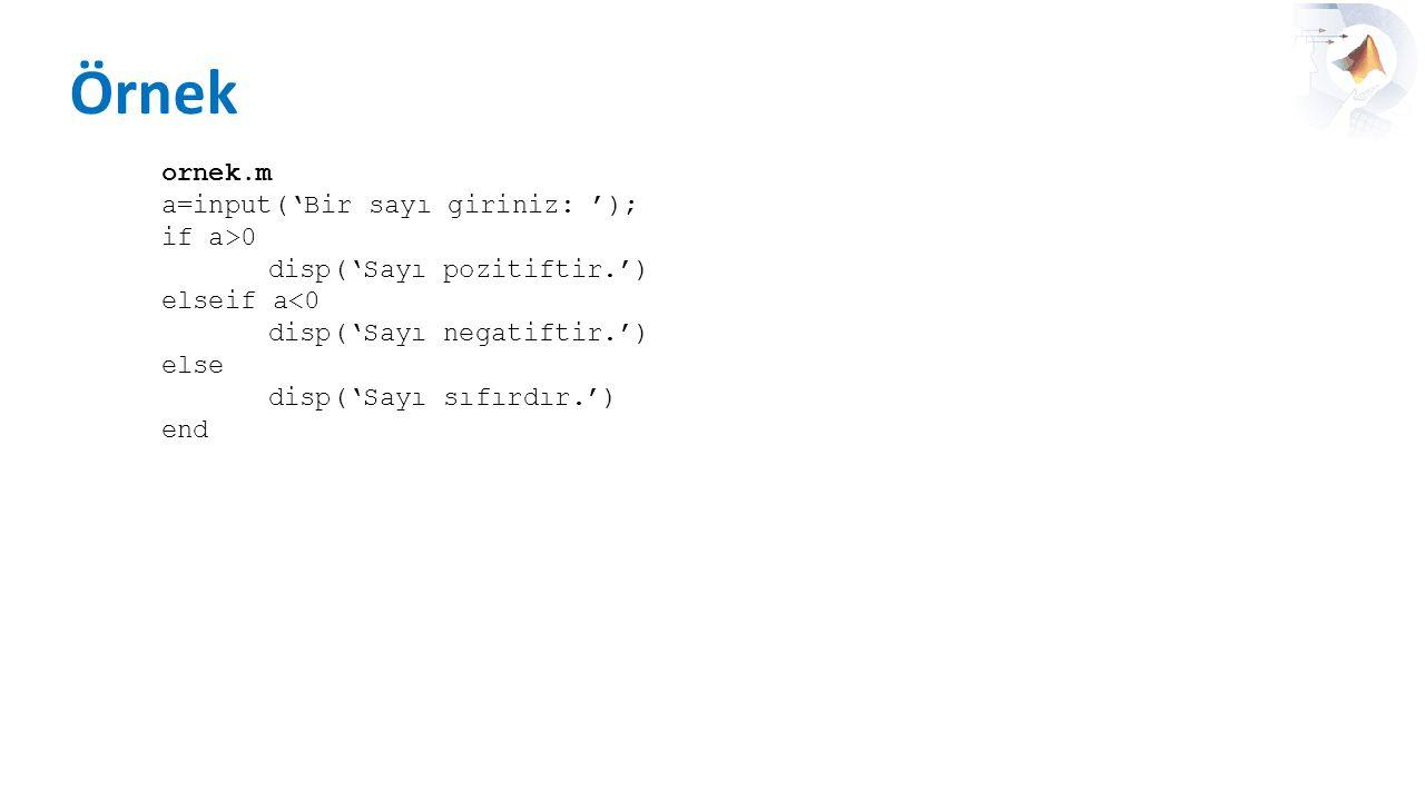 Örnek ornek.m a=input('Bir sayı giriniz: '); if a>0 disp('Sayı pozitiftir.') elseif a<0 disp('Sayı negatiftir.') else disp('Sayı sıfırdır.') end