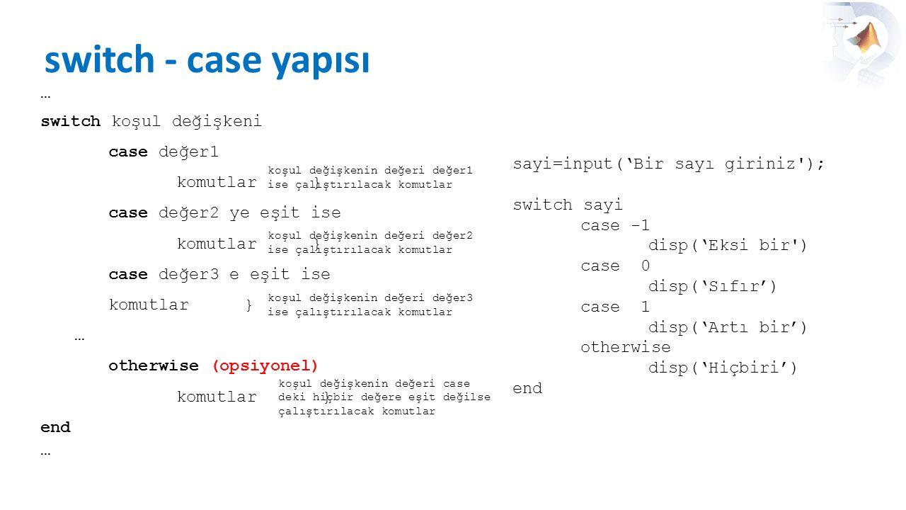 switch - case yapısı … switch koşul değişkeni case değer1 komutlar} case değer2 ye eşit ise komutlar} case değer3 e eşit ise komutlar} … otherwise (op