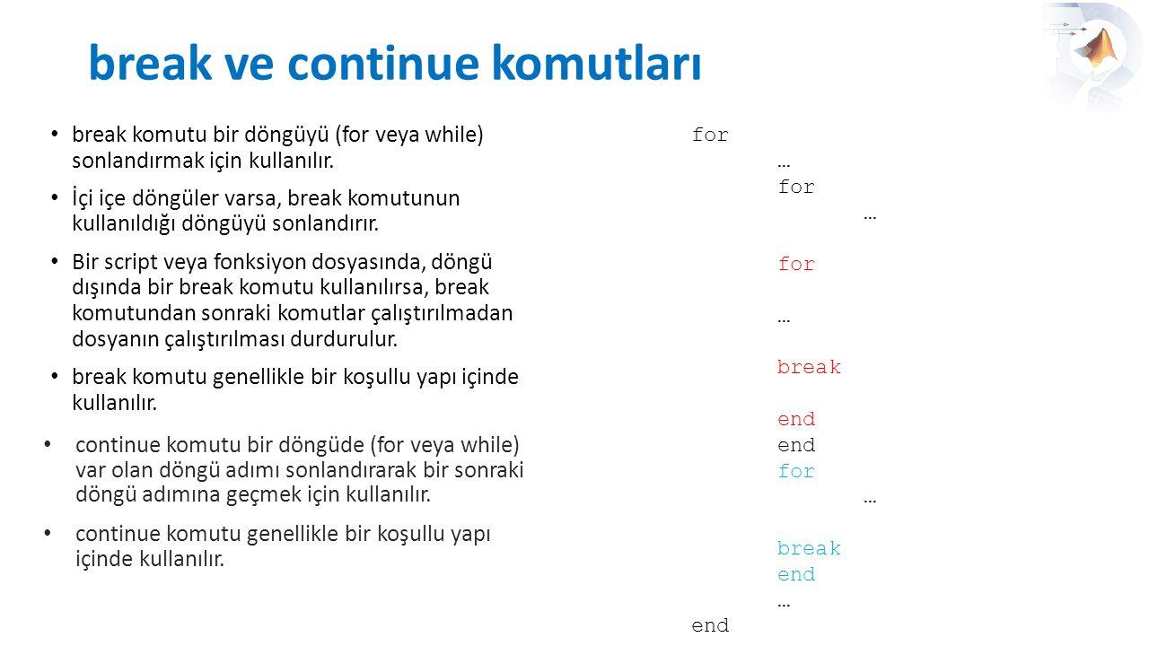break ve continue komutları break komutu bir döngüyü (for veya while) sonlandırmak için kullanılır. İçi içe döngüler varsa, break komutunun kullanıldı
