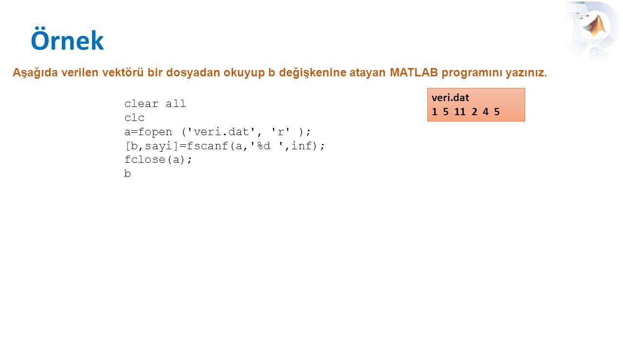 Örnek Aşağıda verilen vektörü bir dosyadan okuyup b değişkenine atayan MATLAB programını yazınız. clear all clc a=fopen ('veri.dat', 'r' ); [b,sayi]=f