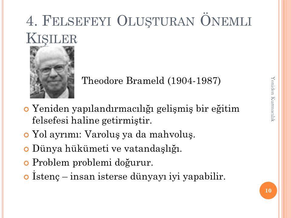 4. F ELSEFEYI O LUŞTURAN Ö NEMLI K IŞILER Theodore Brameld (1904-1987) Yeniden yapılandırmacılığı gelişmiş bir eğitim felsefesi haline getirmiştir. Yo