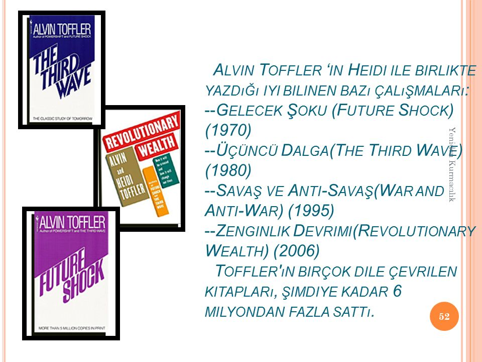 A LVIN T OFFLER ' IN H EIDI ILE BIRLIKTE YAZDıĞı IYI BILINEN BAZı ÇALıŞMALARı : --G ELECEK Ş OKU (F UTURE S HOCK ) (1970) --Ü ÇÜNCÜ D ALGA (T HE T HIR