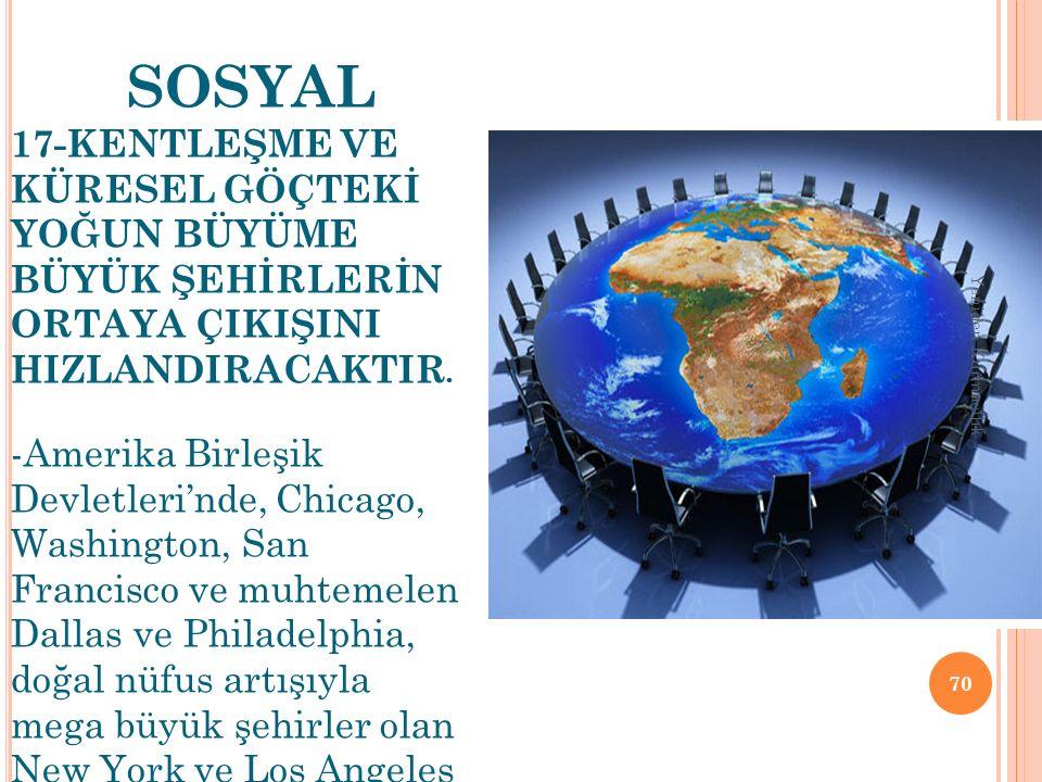 SOSYAL 17-KENTLEŞME VE KÜRESEL GÖÇTEKİ YOĞUN BÜYÜME BÜYÜK ŞEHİRLERİN ORTAYA ÇIKIŞINI HIZLANDIRACAKTIR. -Amerika Birleşik Devletleri'nde, Chicago, Wash
