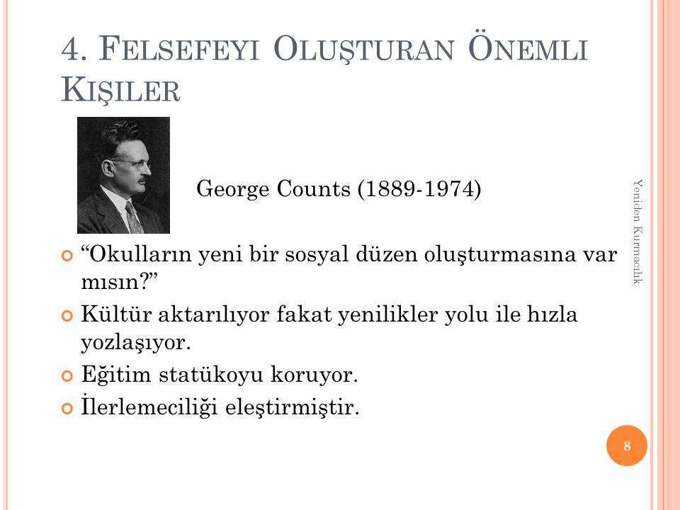 """4. F ELSEFEYI O LUŞTURAN Ö NEMLI K IŞILER George Counts (1889-1974) """"Okulların yeni bir sosyal düzen oluşturmasına var mısın?"""" Kültür aktarılıyor faka"""