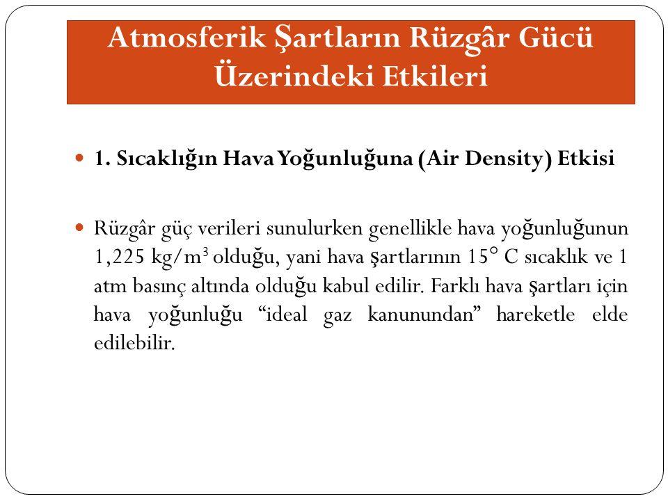 Atmosferik Ş artların Rüzgâr Gücü Üzerindeki Etkileri 1.