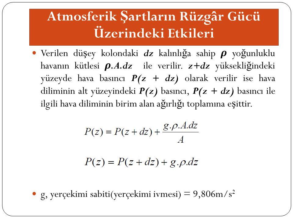 Verilen dü ş ey kolondaki dz kalınlı ğ a sahip ρ yo ğ unluklu havanın kütlesi ρ.A.dz ile verilir.