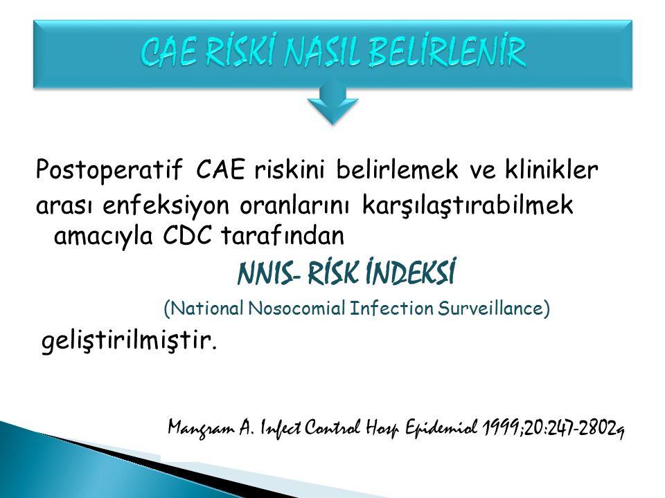 Postoperatif CAE riskini belirlemek ve klinikler arası enfeksiyon oranlarını karşılaştırabilmek amacıyla CDC tarafından NNIS- RİSK İNDEKSİ (National N