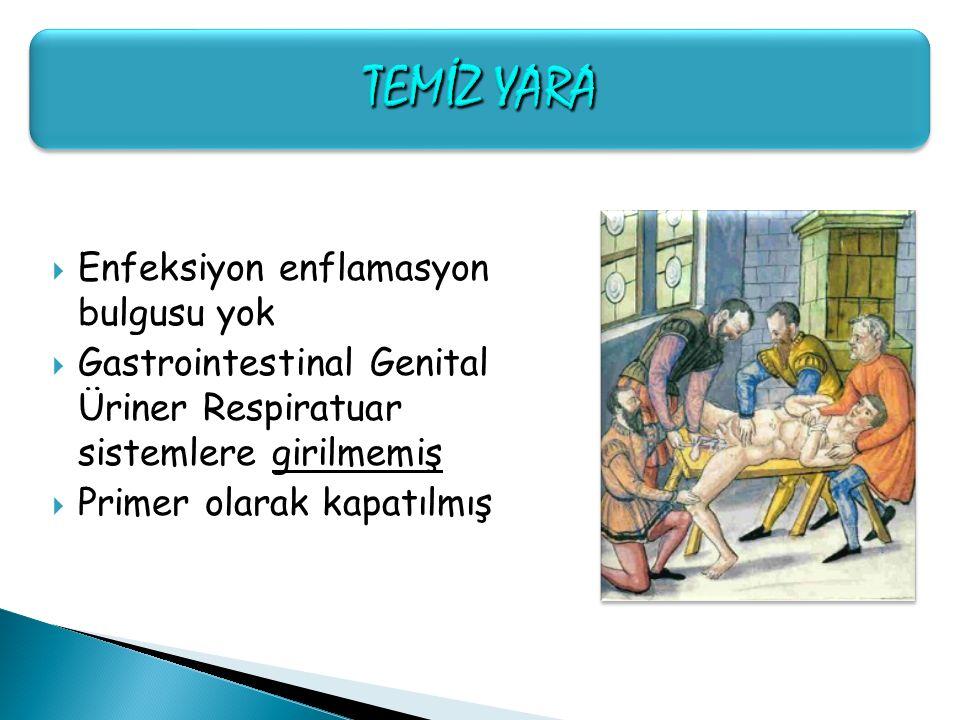 Enfeksiyon enflamasyon bulgusu yok  Gastrointestinal Genital Üriner Respiratuar sistemlere girilmemiş  Primer olarak kapatılmış