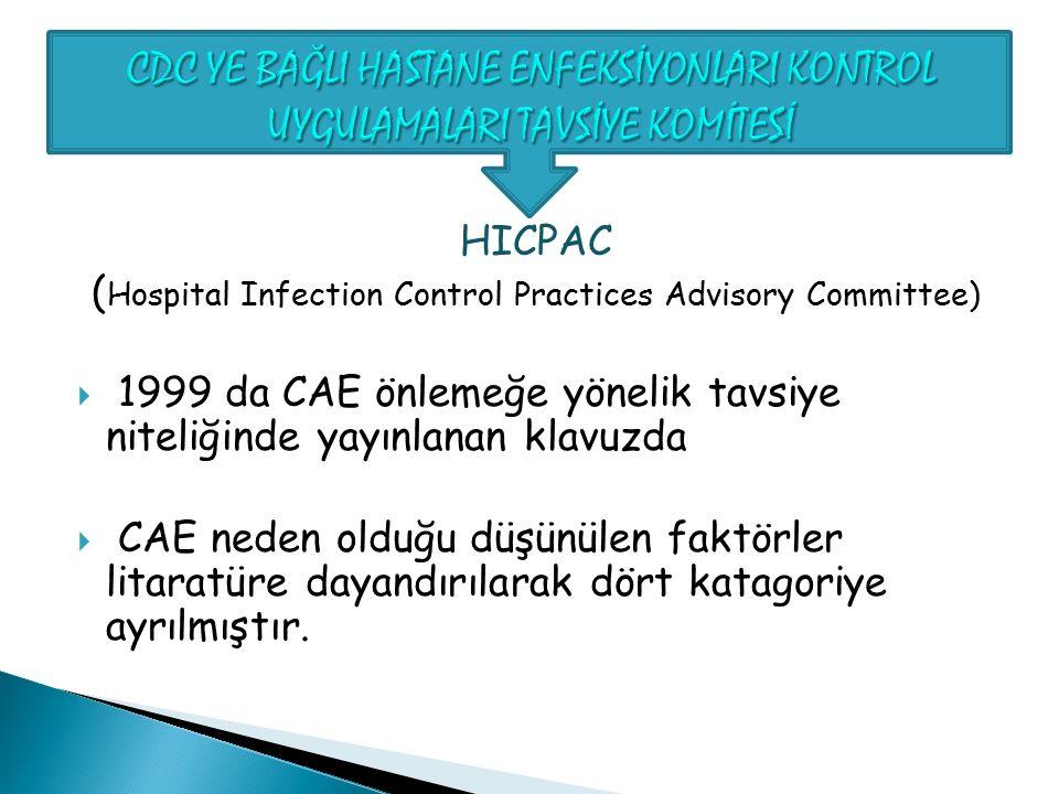 HICPAC ( Hospital Infection Control Practices Advisory Committee)  1999 da CAE önlemeğe yönelik tavsiye niteliğinde yayınlanan klavuzda  CAE neden o