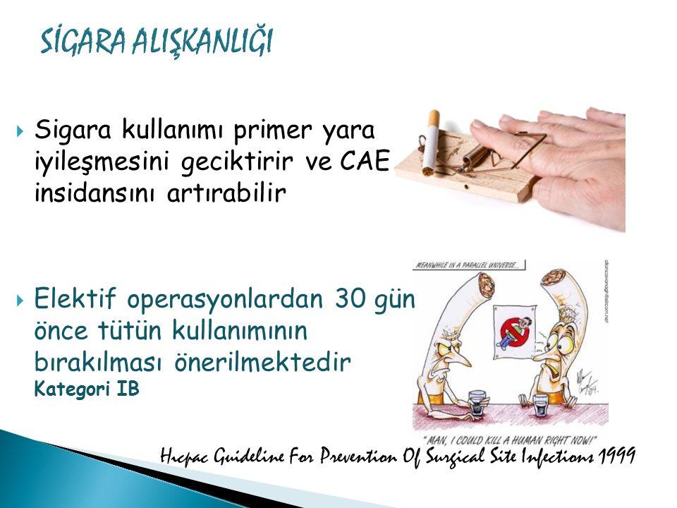  Sigara kullanımı primer yara iyileşmesini geciktirir ve CAE insidansını artırabilir  Elektif operasyonlardan 30 gün önce tütün kullanımının bırakıl