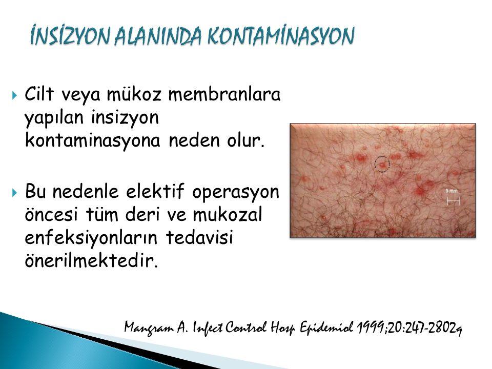  Cilt veya mükoz membranlara yapılan insizyon kontaminasyona neden olur.  Bu nedenle elektif operasyon öncesi tüm deri ve mukozal enfeksiyonların te