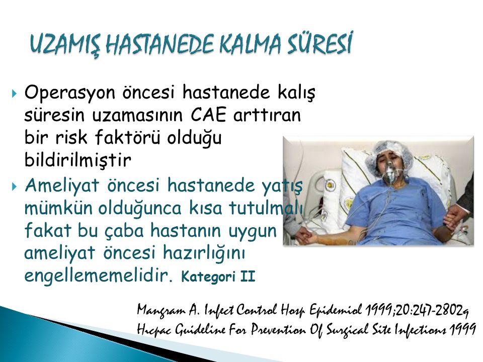  Operasyon öncesi hastanede kalış süresin uzamasının CAE arttıran bir risk faktörü olduğu bildirilmiştir  Ameliyat öncesi hastanede yatış mümkün old