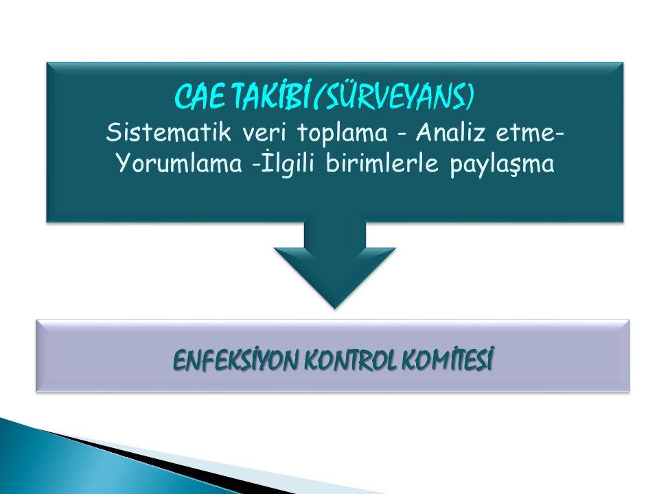 CAE TAKİBİ( SÜRVEYANS) ENFEKSİYON KONTROL KOMİTESİ Sistematik veri toplama - Analiz etme- Yorumlama -İlgili birimlerle paylaşma